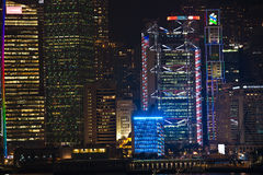 Hong Kong famous Laser Show seen from Kowloon Stock Photos