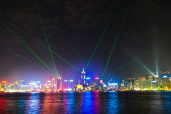Hong Kong famous Laser Show seen from Kowloon Stock Photography
