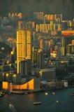 Kowloon island, hong kong. View of kowloon island, hong kong, from the victorial peak Royalty Free Stock Photography