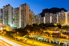 Kowloon with lion rock Royalty Free Stock Image