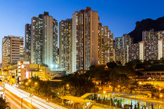 Kowloon with lion rock Stock Photos