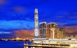 Kowloon office buildings at night. Hong kong Stock Image