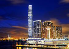 Kowloon office buildings at night Stock Photos