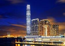 Kowloon office buildings at night. Hong kong Stock Photos