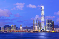 Kowloon side at night Royalty Free Stock Photos