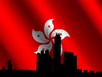 Kowloon skyline with Hong Kong flag Stock Photo