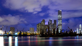 Kowloon skyline at night Royalty Free Stock Images