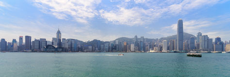 Kowloon Skyline. Panorama of Kowloon from Hongkong Island Stock Image