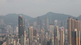 A Kowloon Skyline Viewing Point at east stock video