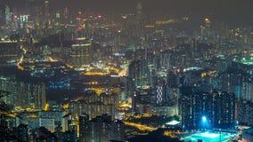 Kowloon-Spitzennacht-timelapse Hong Kong-Stadtbildskyline Shan Fei nichtstaatlicher Organisation stock video