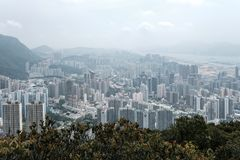 Kowloon view from Lion Rock hill Stock Images