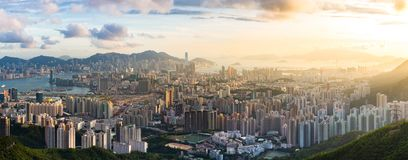 Kowloon View point sunset. Hong Kong Skyline Kowloon from Fei Ngo Shan hill or Kowloon Viewing Point sunset panorama Royalty Free Stock Photography