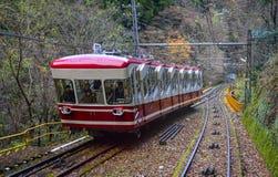 Scenic tram on Mount Koya in Kansai, Japan. Koyasan, Japan - Nov 24, 2016. A cable car running on rail track to Mt. Koya in Japan. Mount Koya or Koyasan is a Royalty Free Stock Photography