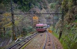 Scenic tram on Mount Koya in Kansai, Japan. Koyasan, Japan - Nov 24, 2016. A cable car running on rail track to Mt. Koya in Japan. Mount Koya or Koyasan is a Royalty Free Stock Image