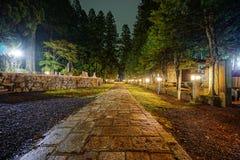 Koyasan på natten Arkivfoto