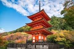 Koyasu Pagoda at Kiyomizu temple surrounded by autumn colors in Kyoto, Japan. Close up view of the beautiful Koyasu Pagoda at Kiyomizu-dera buddhist temple stock images