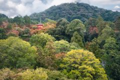 Koyasu Pagoda View on Mount Otawa at Kiyomizu garden in Kyoto. Koyasu Pagoda view from Kiyomizu-dera temple`s famous veranda in autumn in the middle of the stock image
