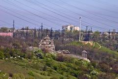Kozakkenvesting ` Zaporizhian Sich ` op Khortytsya-eiland Stock Fotografie