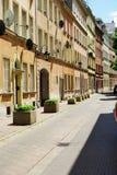 Kozia gata i Warszawa, Polen Arkivbild
