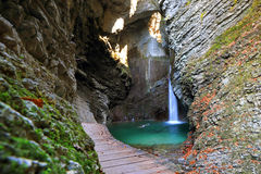 Kozjak waterfall, Kobarid, Slovenia Royalty Free Stock Image