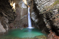 Kozjak waterfall, Kobarid, Slovenia. Kozjak waterfall near Kobarid town in Slovenia Royalty Free Stock Photos