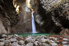 Kozjak waterfall, Kobarid, Slovenia Royalty Free Stock Image