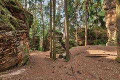 Kozlov. Sandstone rock in Bohemian Paradise stock photo