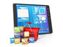 Köp av mobila applikationer Arkivbild