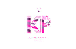 kp k p alphabet letter logo pink purple line icon template vecto Stock Image