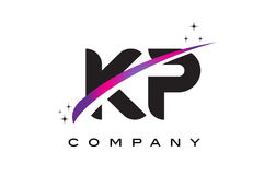 KP K P Black Letter Logo Design with Purple Magenta Swoosh Royalty Free Stock Image