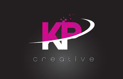 KP K P Creative Letters Design With White Pink Colors Stock Photos