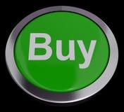 Köp knappen för kommers eller sälja i minut att inhandla Arkivfoton