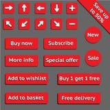 Köp rengöringsduken röda knappar för website eller app Arkivbild
