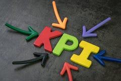KPI、关键显示企业目标和目标测量co 免版税图库摄影