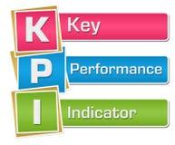 KPI -垂直主要绩效显示五颜六色的正方形 库存图片