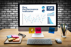 KPI acronym (Key Performance Indicator) Business team hands at w Royalty Free Stock Image