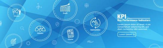 KPI - Banret och symbolen för titelrad för rengöringsduk för indikatorer för nyckel- kapacitet ställde in stock illustrationer