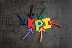 KPI, blanco del negocio del indicador del punto clave y estafa de la gestión de la meta foto de archivo