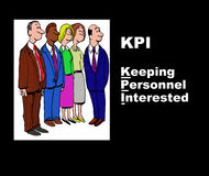 KPI. Business illustration showing five businesspeople and the acronym 'KPI' (Key Performance Indicators) with the play on words, 'Keeping Personnel Interested Stock Photography