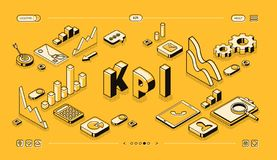 KPI business performance vector isometric halftone. KPI business performance strategy and analysis vector illustration in thine line isometric design on yellow stock illustration
