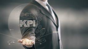 KPI con concepto del hombre de negocios del holograma ilustración del vector