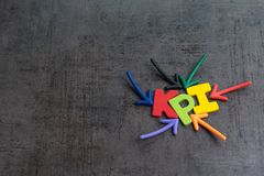 KPI, Key Performance Indicator business target or score to measure success in marketing campaign concept by multiple arrow royalty free stock photo