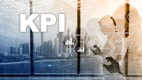 KPI - Key Performance Indicator. Business and technology concept. Multiple exposure, mixed media. Financial concept on blurred vector illustration