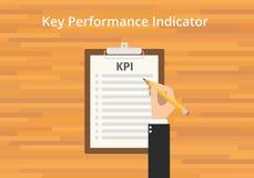 Kpi key performance indicator checklist. Clipboard flat stock illustration