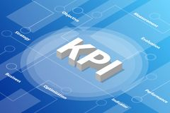 Kpi key performance indicator isometric 3d word text concept with some related text and dot connected - vector. Illustration royalty free illustration