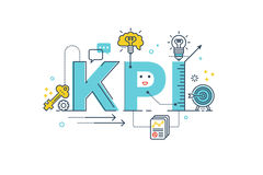 KPI : Key Performance Indicator word. Lettering typography design illustration with line icons and ornaments in blue theme Stock Photos