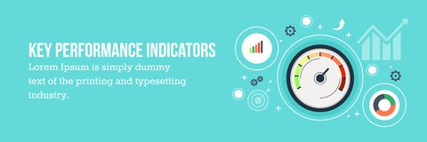 KPI - Key performance indicators flat design web banner. Key performance indication or KPI concept with icons and elements. Flat design vector web banner Royalty Free Stock Images