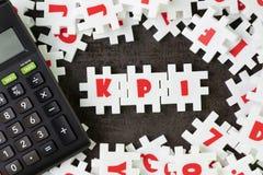 KPI, Key Point Indicator concept, white puzzle jigsaw alphabet c stock images