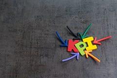 KPI, Kluczowego występu wskaźnika biznesowy cel lub wynik mierzyć sukces w kampanii marketingowej pojęciu wieloskładnikową strzał zdjęcie royalty free