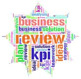 Kpi plan review word cloud. Kpi plan review idea business analysis achievement word cloud concept Royalty Free Stock Images
